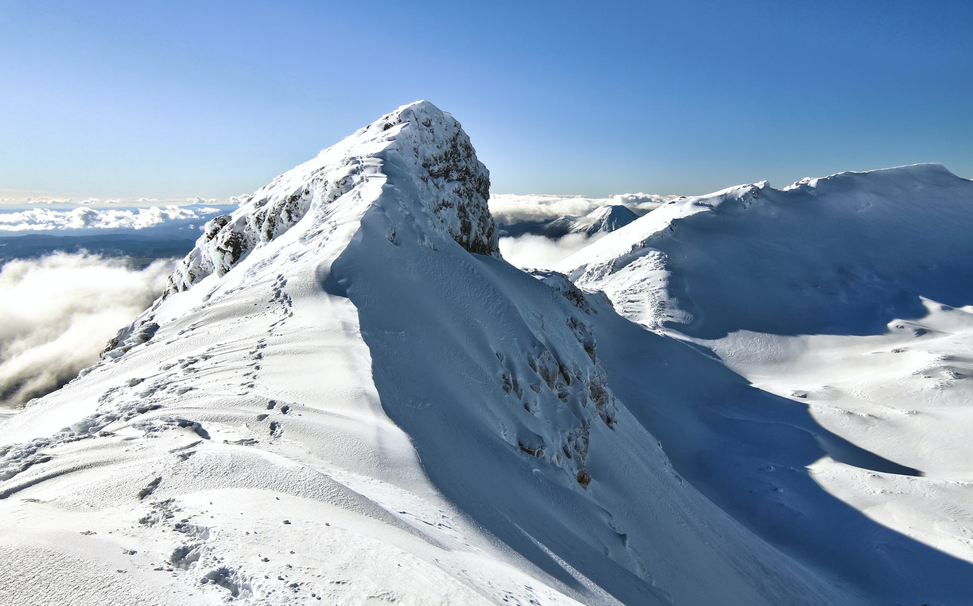 Footsteps on the Summit Ridge of Mt. Ruapehu in New Zealand
